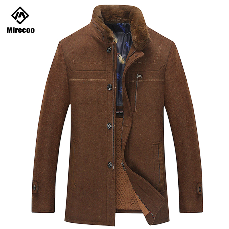 2019 Fashion Men's Wool Coat Winter Warm Solid Color Long Trench Jacket Male Single Zipper Business Casual Overcoat Parka Brand