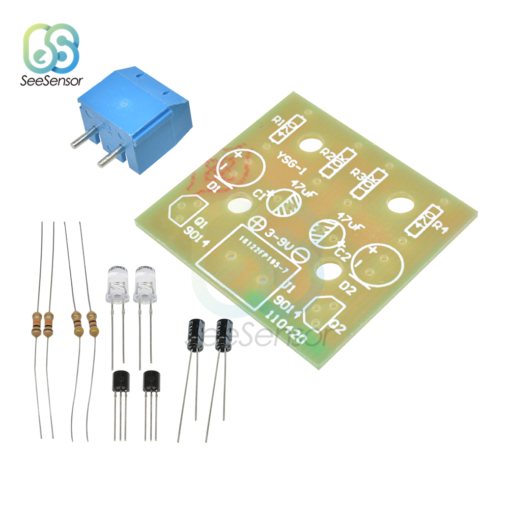 5mm LED Simple Flash Light Circuit Module DIY Kit Flashing Leds Circuit Board Kits Electronic Production Suite Parts 3-14V