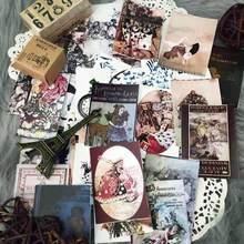 43 PCS \ SET Retro Alice Pôquer Bonito Menina de Coelho \ \ Cogumelo Carta Jornal Fundo Material de Scrapbooking Decoração DIY Adesivos