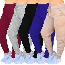 Однотонные Многослойные спортивные брюки из хлопка теплые плотные