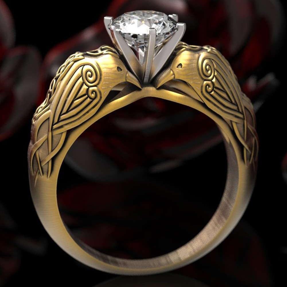 Cool Party Women Crow Carved Totem Rhinestone Inlaid Finger Ring Jewelry Little