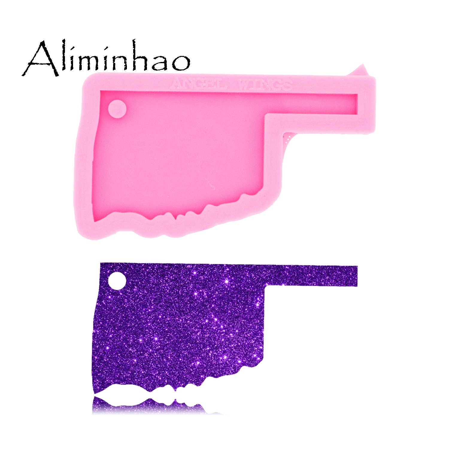DY0229 Shiny Glossy USA State Map Oklahoma Shape Silicone Keychain Molds Epoxy And Resin Craft Mould