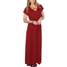 Women's Loose Plain Maxi Dresses Ankle Length Casual Long Dresses with Pockets Short Sleeves цена в Москве и Питере