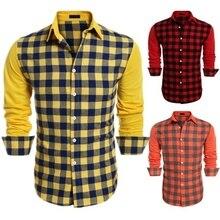 ZOGAA Mens Long Sleeve Dress Shirt Up Casual Plaid Patchwork Shirt Mens Lapel Slim Fit Dress Shirt Men Fashion Blouse Undershirt