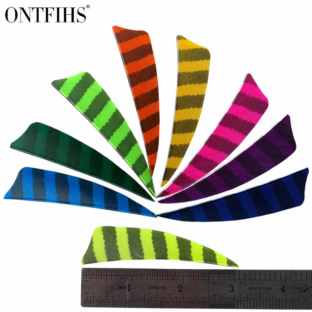50Pcs 3 polegadas Corte Escudo Forma Pena Flecha de Caça Arco Acessórios Striped Real Pluma