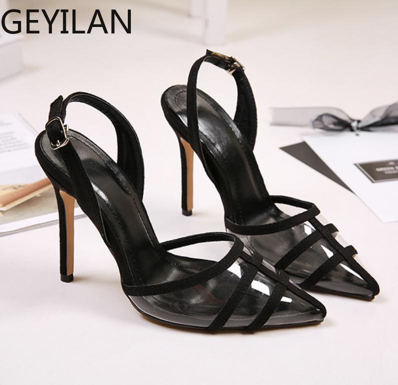 Прозрачные женские босоножки с острым носком; Новинка 2020 года; сезон лето; пикантная повседневная женская обувь на очень высоком каблуке