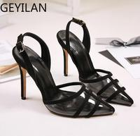 Pointed Toe Transparent Women's Sandals 2020 Summer New Super High Heels Shallow Sexy Stitching Casual Ladies Shoes