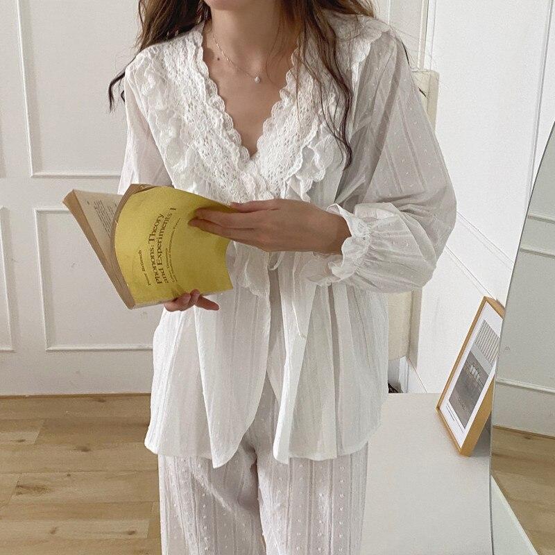 Alien Kitty-Pijama de algodón 2020 de estilo palaciego para mujer, ropa para el hogar, Color puro, elegante, encaje de otoño coreano