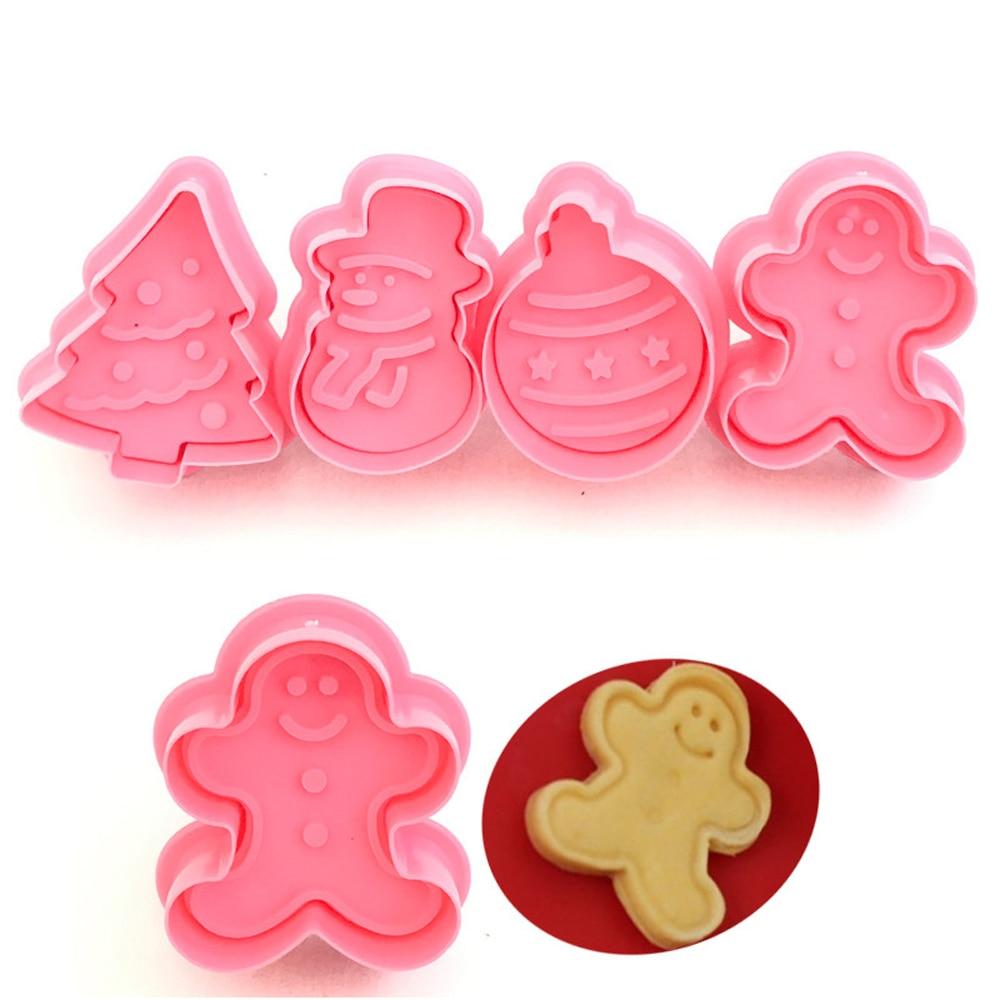4pcs Christmas 3D Cookie Cutter Biscuit Molds DIY Fondant Snowman Cookie Plunger Cake Mould Bakeware Kitchen Accessories