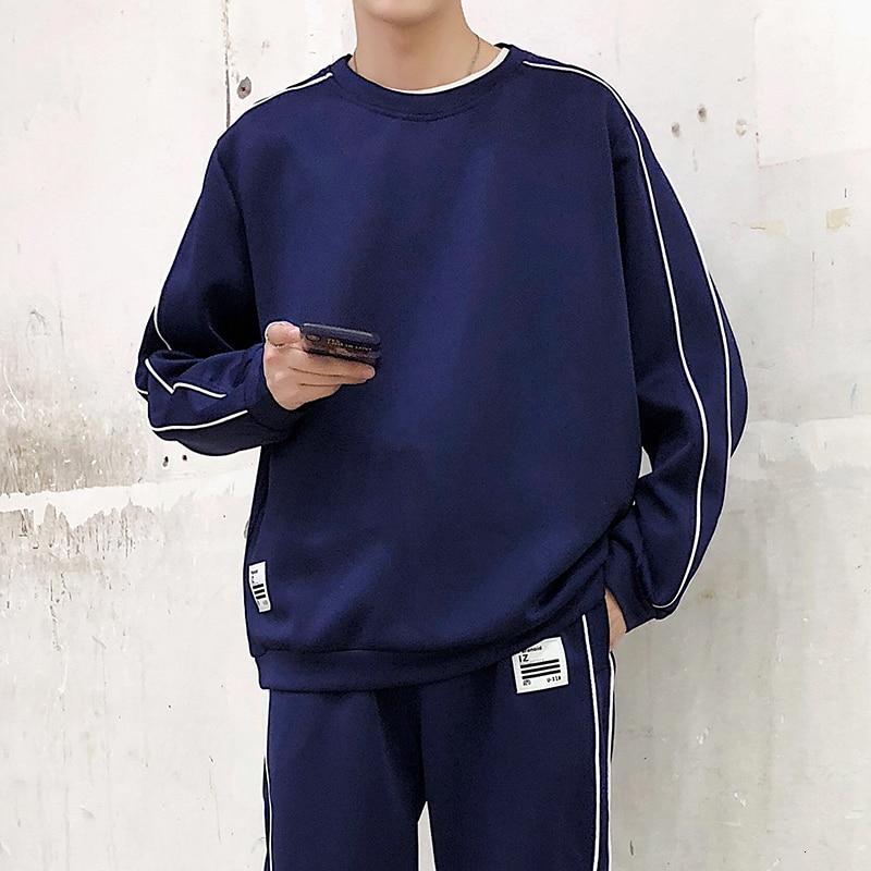 2019 Spring Autumn Casual Sports Suit Fertilizer Men's Loose Korean Version Nine Pants Lovers Two Piece Japan Style Tracksuit