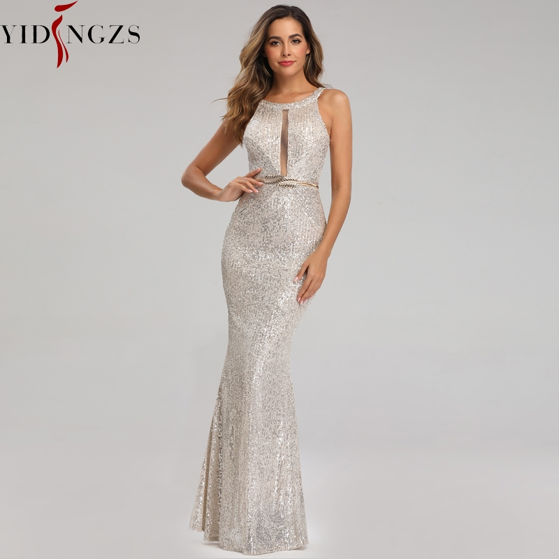 YIDINGZS See-through Sexy Long Formal Party   Dress   Off-shoulder Silver Sequins   Evening     Dress