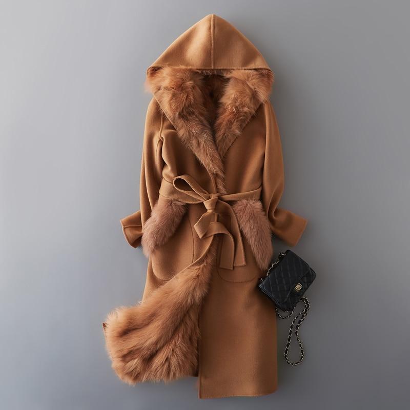 Coat Wool Real Female Natural Fox Fur Liner Cashmere Coats 2020 Winter Jacket Women Woolen Coat Korean Overcoat MY3691 S En