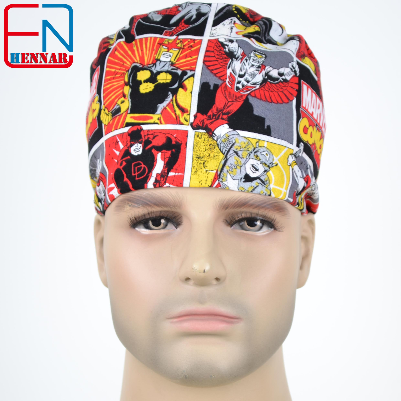 Hennar Men's Scrub Caps Masks 100% Cotton Adjustable Elastic Bands Surgical Scrub Caps Medical Hospital Doctor Headwear Cap Mask