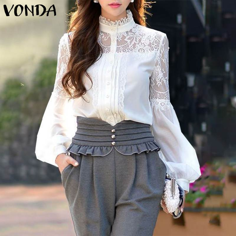 VONDA Women Blouses And Tops 2020 Summer Casual Solid Color Long Sleeve Lace Shirts Plus Size Bohemian Blusas Femme Tunics 5XL