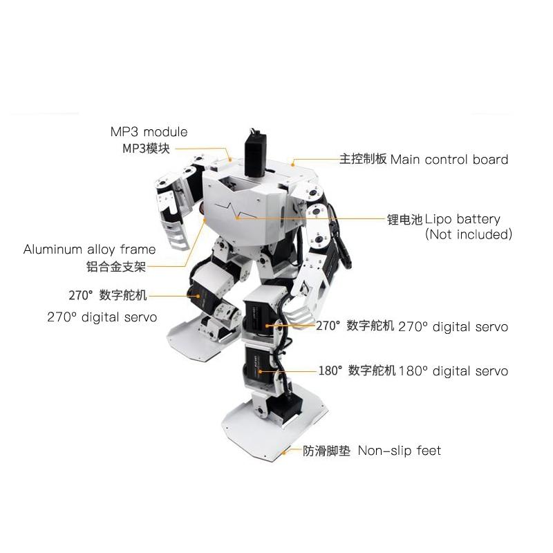 Assembled 17 DOF Dancing Humanoid Robot With 17pcs Digital Servos MP3 Module Dance Biped Programmable Robot STEM Toy