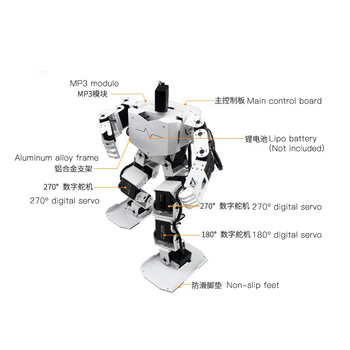 Assembled 17 DOF Dancing Humanoid Robot with 17pcs Digital Servos MP3 Module Dance Biped Programmable Robot STEM Toy