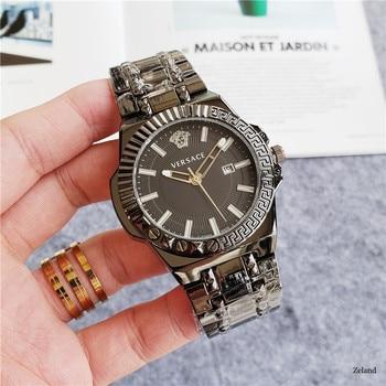 Versace Luxury Brand quartz women Watches Quartz Watch Stainless Steel Strap wristwatch classic business dress men watch