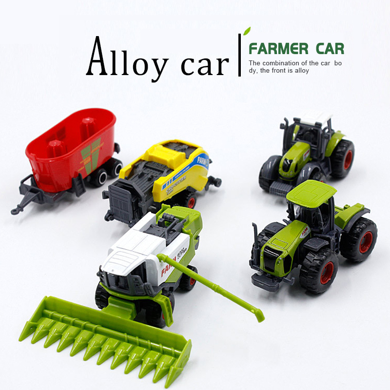 Mini Alloy Farmer Car Alloy Engineering Car Tractor Toy Model Farm Vehicle Belt Boy Toy Car Model Diecast Simulation Car
