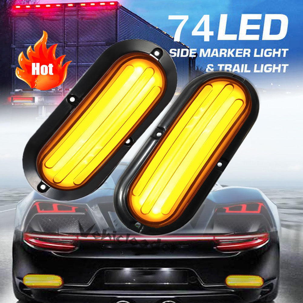 2pcs 74LED Trailer Truck Daytime Running Light DRL Flowing Turn Signal Lamp With Strobe Warning Light SUV RV Caravan 12V/24V