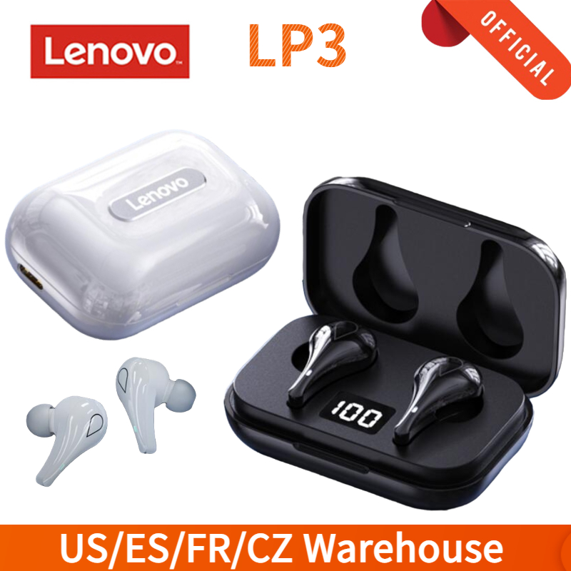 Lenovo LP3 Wireless Bluetooth 5.0 Earphones Waterproof TWS Headsets Low Latency Stereo Bass Sound Gaming Earbuds LED Display