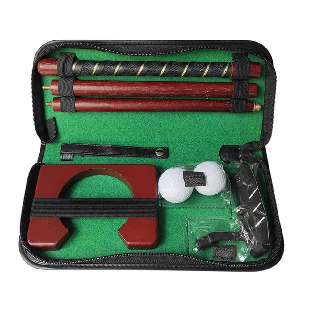 Travel Portable Putting Training Aids Carry Case Ball Holder Gift Mini Indoor Sports Wood Practice Equipment Golf Putter Set