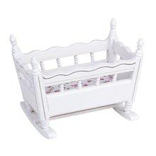 1/12 кукольный домик миниатюрная белая деревянная кроватка для