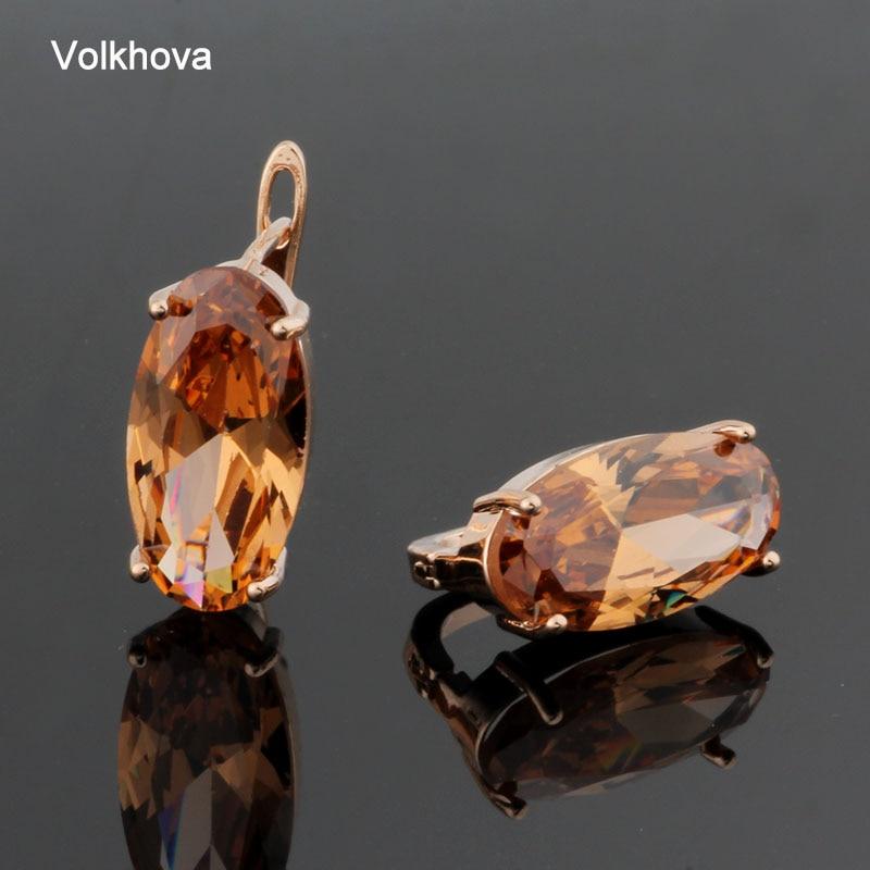 New Fashion Earrings Cubic Zircon Stud Earrings Oval Shape 585 Rose Gold Color Big Earrings for Women Accessories Party Jewelry