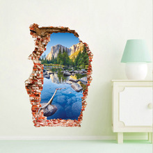 3D Colorful pool mountain landscape wall sticker for bathroom living room wall decals Home decoration цена