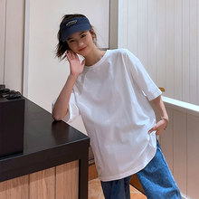 Summer New Daily Casual Basic T Shirt Women Oversized Solid 100% Cotton Soft O-Neck Female Tops Black White Gray