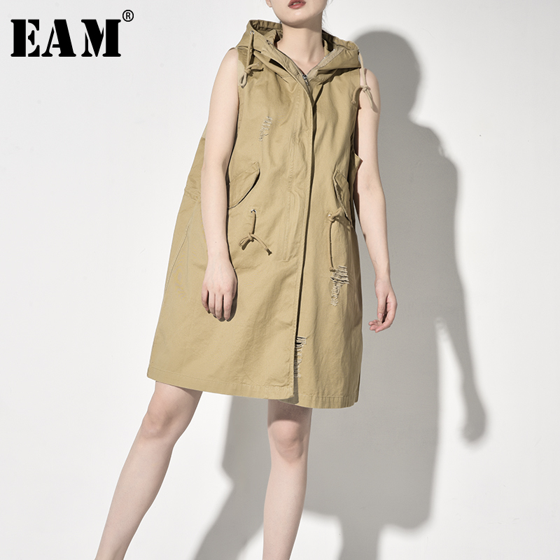 [EAM] Women Khaki Lace Split Joint Bandage Long Loose Fit Vest New V-collar Sleeveless Fashion Tide Spring Autumn 2019 JK596