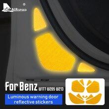 AIRSPEED accesorios para tapicería de puerta Interior, luz de advertencia luminosa, pegatina reflectante, para Mercedes Benz A C E Class W213 W177 W205