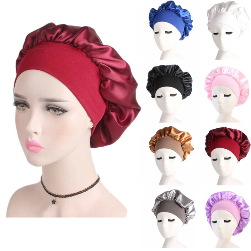 Newly Women's Satin Solid Sleeping Hat Night Sleep Cap Hair Care Bonnet Nightcap For Women Men Unisex Cap Bonnet De Nuit