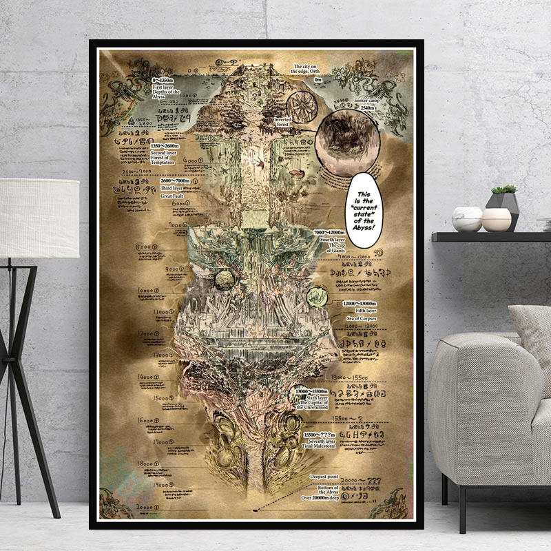 Canvas Painting Posters And Prints Wall Art Picture Made In Abyss Map Anime Movie Vintage Poster Decorative Home Decor Cuadros