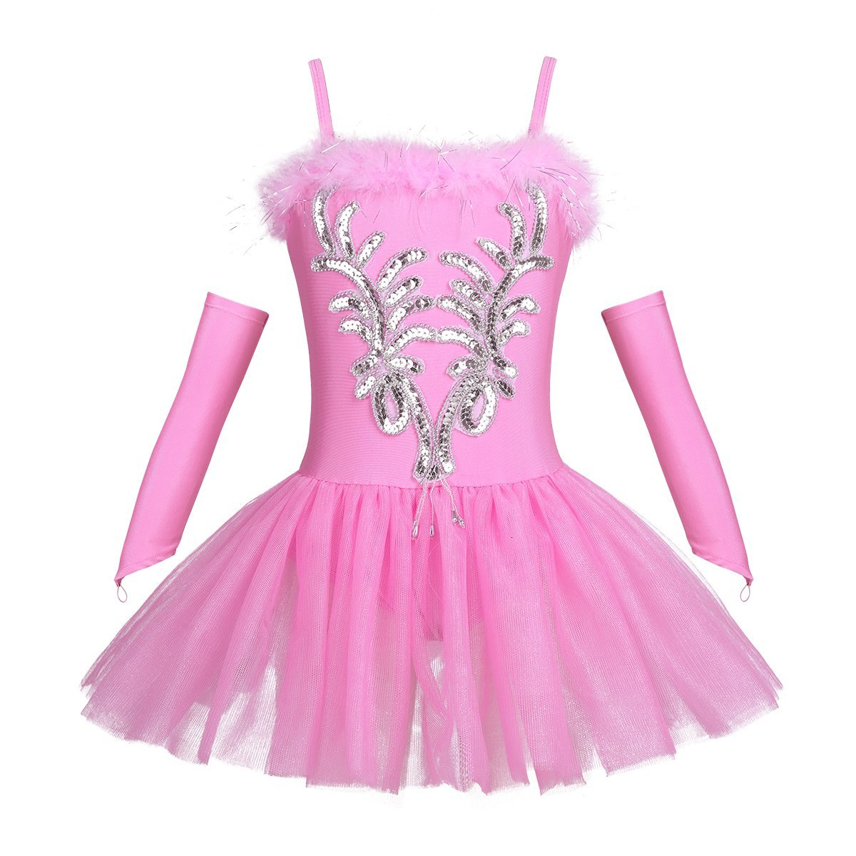 <font><b>TiaoBug</b></font> Girls Sequined Beads Swan Costume Ballet Dance Leotard Spaghtetti Tutu Dress with Gloves Hair Clip image