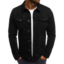 Fashion Men Short Jeans Jacket Spring Button Pockets Male Coat
