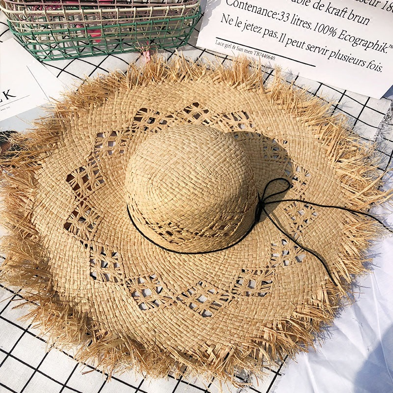 Women Summer Natural Raffia Straw Hat Girl Fashion Ribbon Floppy Shading Panama Wide Brim Sun Hats Vacation Travel Beach Hat