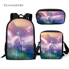ELVISWORDS Fashion Kids 3PCs Set Backpack Cute Horse Pattern School Bag Students Fantasy Unicorn Backpack/Flaps Bag/Pen Bags