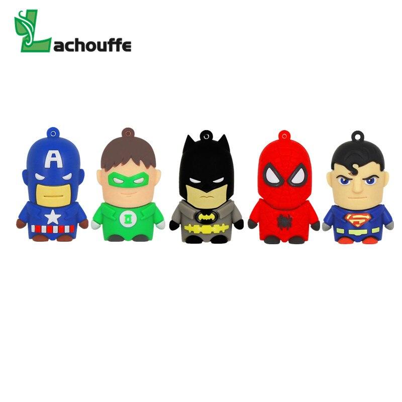High Quality Super Heros Cute USB Flash Drive 32GB 64GB Pen Drive 128GB U disk 16GB 8GB 4GB Funny Pendrive Memory Stick
