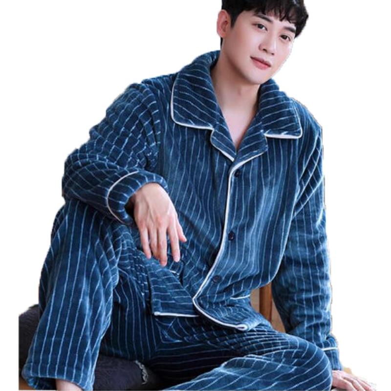 Mens Pajamas Set Men Pyjamas Thick Warm Flannel Cute Sleepwear Winter Pajama Set Long Sleeve Full Trousers Two Piece Homewear