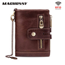 RFID Protection Men Wallet Coin Purse Small Mini Card Holder Chain Male Walet Pocket 100% Genuine Leather Wallet Clasp Zip Purse