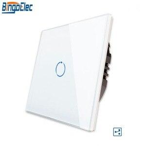 Image 1 - Bingoelec 1/2/3Gang 2Way Trap Muur Schakelaar, white Crystal Gehard Glas Touch 2Way Lichtschakelaar Eu/Uk Standaard AC110 250V
