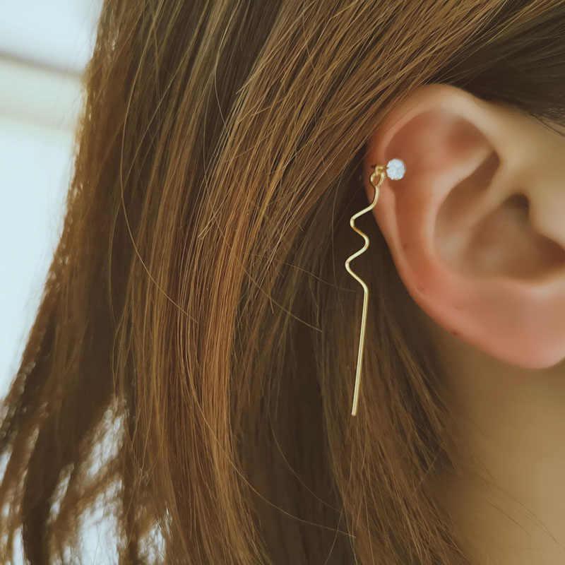 Boucles d'oreilles en or pour femmes 2019 breloques brèves strass Double oreille Piercing côté boucle d'oreille Femme Bijoux pièce unique