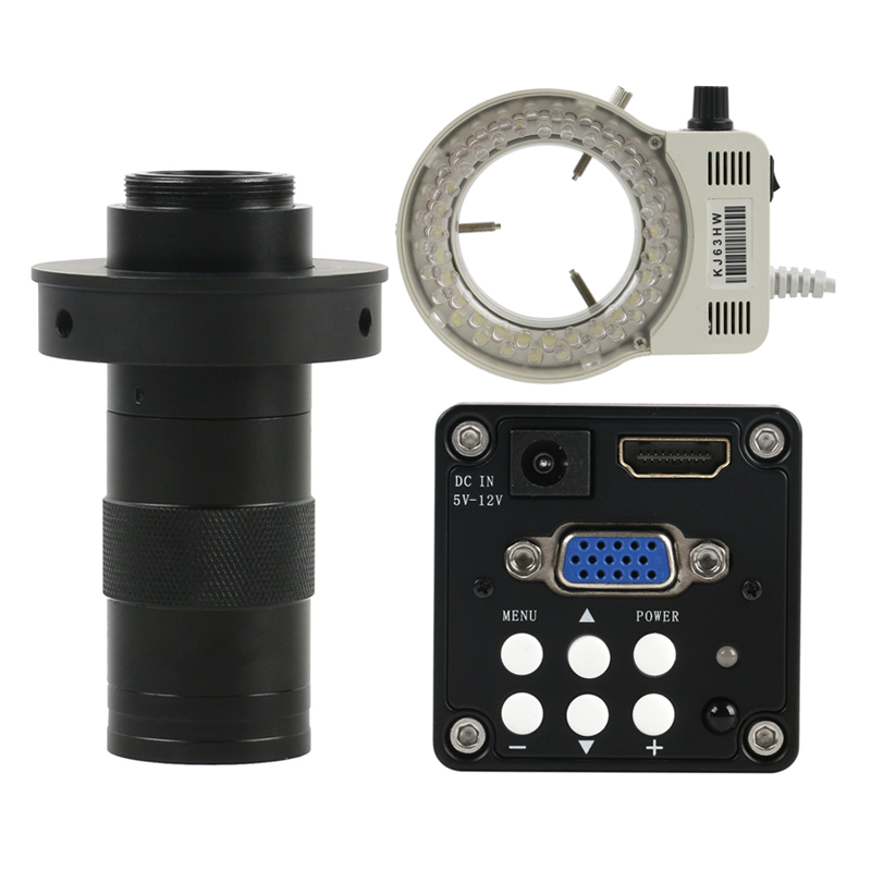 Appareil-photo industriel de Microscope de HDMI VGA de 14MP numérique + lumière annulaire de 56 LED + 130X lentille réglable de bâti du Zoom C 22CM distance maximum de travail