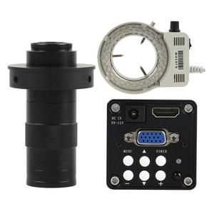 Промышленный Цифровой 14MP HDMI VGA микроскоп камера + 56 светодиодный кольцевой светильник + 130X Регулируемый зум C крепление объектива 22 см рабоче...