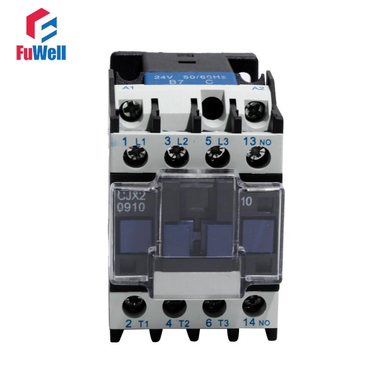 CJX2-0910 AC Contactor 09A NO Normal Open Coil Voltage Contactor 24V 36V 48V 110V 220V 380V Alternating Current Contactor
