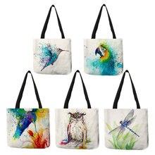Aquarela animal arte linho tote mochila com impressão reutilizável sacos de compras para mantimentos moda casual bolsas para mulher