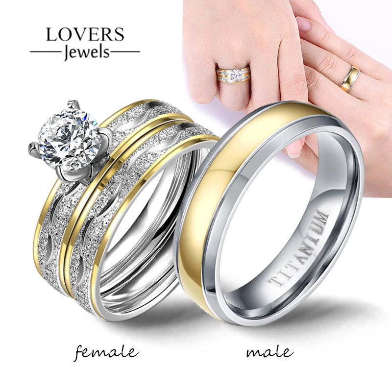 Couple Rings   Women Exquisite Rhinestones Zirconia Rings Set Simple Stainless Steel Men Ring Fashion Jewelry For Lover Gifts