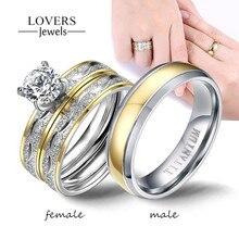 Bagues de Couple en acier inoxydable pour hommes et femmes, ensemble de bagues en zircone avec strass exquis, bijoux à la mode pour cadeaux d'amoureux