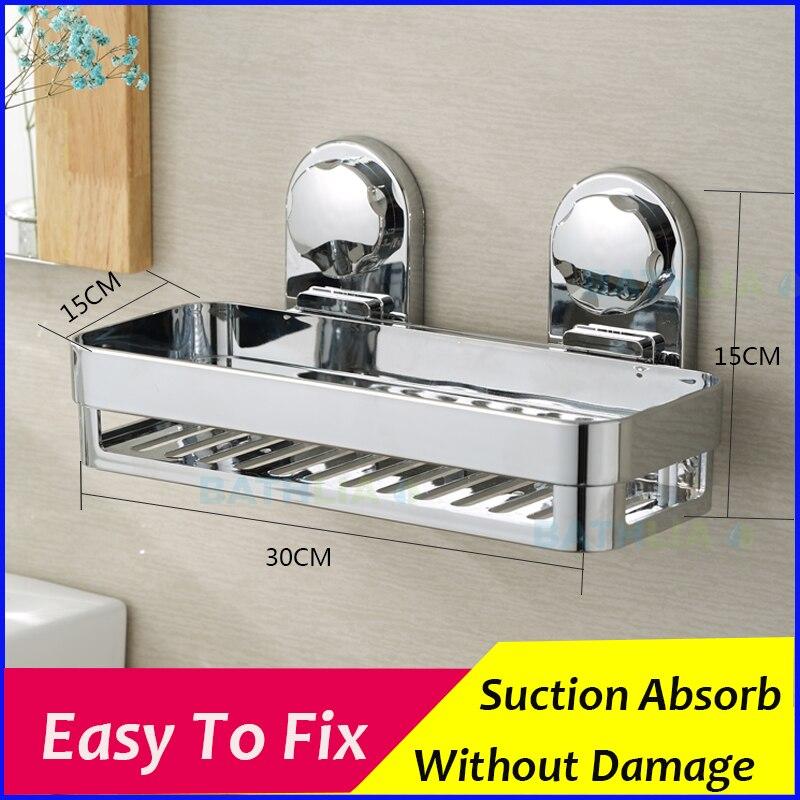 EHEH no drilling sucker square bathroom shelf high quality chrome super durable Shower Storage corner rack bath accessory