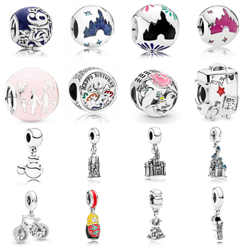 2019 NEW 100% 925 Silver Lovely Bicycle Romantic Valentine's Day Charm Gift Snowflake Castle Beaded Limited Edition Collection